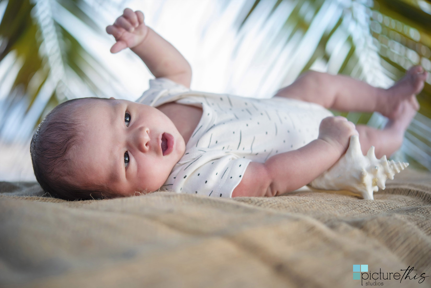 Baby Nolan's first trip to the beach to do his newborn photos done. He was a perfect baby and Heather Holt Photography with Picture This Studios had a beautiful sunset at Spotts Beach on Grand Cayman.